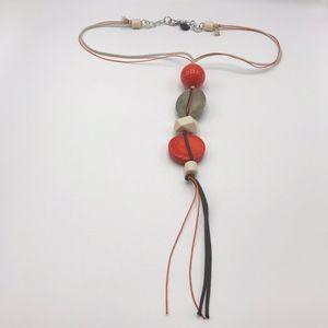Alisha D Long Beaded Necklace Tassel Cord Italy